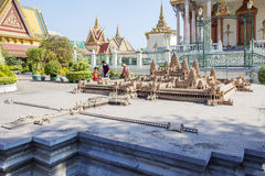 Angkor Wat miniature, Royal Palace Cambodia, Phnom Penh, Cambodia. The Royal Palace is a complex of buildings which serves as the royal residence of the king Royalty Free Stock Image