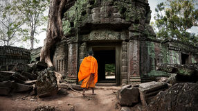 Angkor Wat monk. Ta Prom Khmer ancient Buddhist temple in jungle. Forest. Famous landmark, place of worship and popular tourist travel destination in Asia Stock Photos