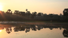 Angkor wat and the morning sun stock video footage
