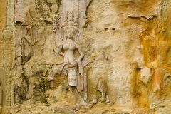 Apsara Carvings of Angkor Wat temple in Siem Reap city of Cambodia. royalty free stock photography