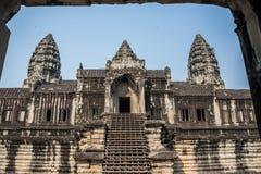 Angkor Wat okno. Religia, tradycja, kultura. Kambodża, Azja. Zdjęcia Stock