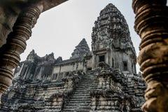 Angkor Wat okno. Religia, tradycja, kultura. Kambodża, Azja. Obrazy Stock
