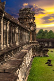 Angkor Wat på solnedgången Arkivfoto
