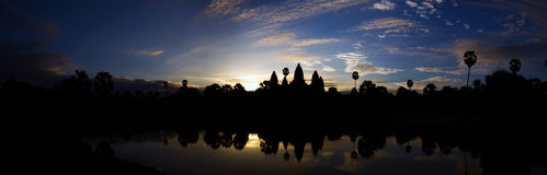 Angkor Wat Panorama. Panoramic view of the sunrise at Angkor Wat Royalty Free Stock Image