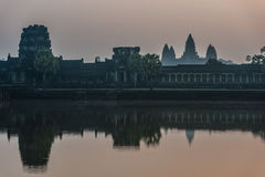 Angkor wat panorama across the moat cambodia Royalty Free Stock Images