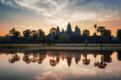Angkor Wat reflected in lake at dawn. Siem Reap, Cambodia Royalty Free Stock Images