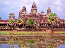 Angkor Wat with reflection. The majestic Angkor Wat temple reflecting in the moat Royalty Free Stock Images