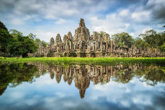 Angkor Wat with reflextion Stock Photos