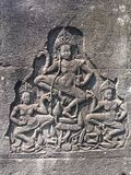 Angkor Wat in Siem oogst, is Cambodia Apsara op de muur van Khmer oude tempel wordt gesneden die royalty-vrije stock fotografie