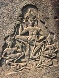 Angkor Wat in Siem oogst, is Cambodia Apsara op de muur van Khmer oude tempel wordt gesneden die stock afbeeldingen
