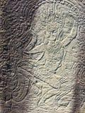Angkor Wat in Siem oogst, is Cambodia Apsara op de muur van Khmer oude tempel wordt gesneden die stock fotografie