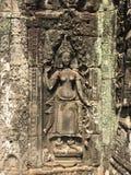 Angkor Wat in Siem oogst, is Cambodia Apsara op de muur van Khmer oude tempel wordt gesneden die royalty-vrije stock foto's
