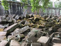 Angkor Wat in Siem Reap, Cambodia. Ancient Khmer stone temple ruins in jungle forest Stock Photo