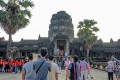 Angkor wat siem reap with sunrise in the morning and tourist visit angkor wat stock photos