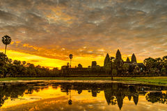 Angkor Wat. Status silhouette of Angkor Wat in sunrise, the best time in the morning at Siem Reap, Cambodia Royalty Free Stock Images