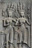 Angkor Wat Stone Bas Relief Royalty-vrije Stock Foto