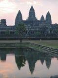 Angkor Wat sunrise. Sunrise at Angkor Wat in Cambodia, reflecting in pool stock photos
