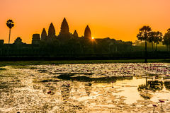 Angkor Wat at sunrrise,Buddhist temple complex in Cambodia stock image