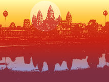 Angkor wat in sunset. Illustrated scenery of an ancient ruin Royalty Free Stock Images