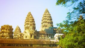 Angkor Wat at sunset. Beautiful temple complex of Cambodia stock video footage