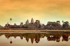 Angkor wat at sunset Royalty Free Stock Images