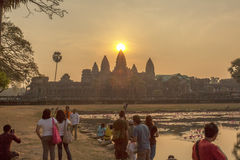 Angkor Wat at sunset, Siem Reap, Cambodia. The lake in front of the Angkor Wat where tourists commonly stand here to take picture of Angkor Wat at sunset when royalty free stock image