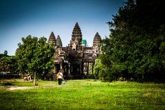 Angkor Wat tempel Arkivbilder
