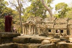 Angkor Wat Tempel En khmercivilisation för den cambodia för angkoren skördar banteay lotuses laken siemsreytempelet Turism i Camb Arkivbild