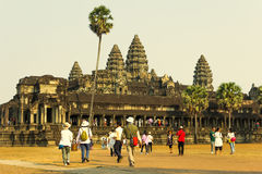 Angkor Wat Tempel En khmercivilisation för den cambodia för angkoren skördar banteay lotuses laken siemsreytempelet Turism i Camb Royaltyfria Foton