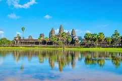 Angkor Wat temple across lake, Siem Reap, Cambodia Stock Photo