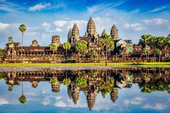 Angkor Wat. Temple - Cambodia iconic landmark with reflection in water royalty free stock photo