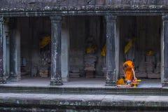Angkor Wat Temple in Cambodia. SIEM REAP , CAMBODIA - OCT 17 : Budhist monk at the Angkor Wat Temple in Siem Reap Cambodia on October 17 2017 , The Angkor Wat is Royalty Free Stock Photos