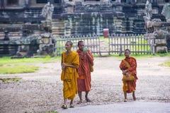 Angkor Wat Temple in Cambodia. SIEM REAP , CAMBODIA - OCT 17 : Budhist monks at the Angkor Wat Temple in Siem Reap Cambodia on October 17 2017 , The Angkor Wat Stock Image