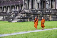 Angkor Wat Temple in Cambodia. SIEM REAP , CAMBODIA - OCT 17 : Budhist monks at the Angkor Wat Temple in Siem Reap Cambodia on October 17 2017 , The Angkor Wat Royalty Free Stock Image