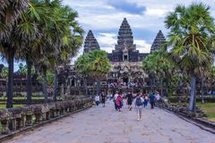 Angkor Wat Temple in Cambodia. SIEM REAP , CAMBODIA - OCT 17 : The Angkor Wat Temple in Siem Reap Cambodia on October 17 2017 , The Angkor Wat is an UNESCO World Royalty Free Stock Photography