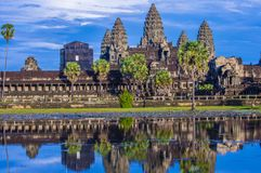 Angkor Wat Temple in Cambodia. SIEM REAP , CAMBODIA - OCT 17 : The Angkor Wat Temple in Siem Reap Cambodia on October 17 2017 , The Angkor Wat is an UNESCO World Stock Image