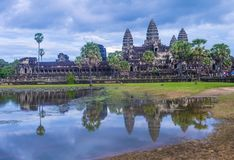 Angkor Wat Temple in Cambodia. SIEM REAP , CAMBODIA - OCT 17 : The Angkor Wat Temple in Siem Reap Cambodia on October 17 2017 , The Angkor Wat is an UNESCO World Royalty Free Stock Photo