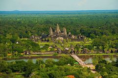 Angkor Wat temple complex, Aerial view. Siem Reap, Cambodia. Largest religious monument in the world 162.6 hectares Stock Photo