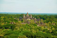Angkor Wat temple complex, Aerial view. Siem Reap, Cambodia. Largest religious monument in the world 162.6 hectares stock photos
