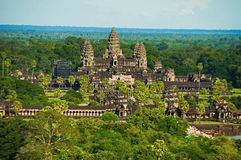Angkor Wat temple complex, Aerial view. Siem Reap, Cambodia. Largest religious monument in the world 162.6 hectares royalty free stock photo