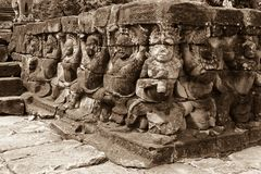 Angkor Wat Temple, detail of faces and bodies royalty free stock photo
