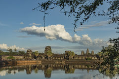 Angkor Wat temple in hot sunny evening Royalty Free Stock Images