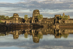 Angkor Wat temple in hot sunny evening Royalty Free Stock Photo