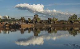 Angkor Wat temple in hot sunny evening Royalty Free Stock Image