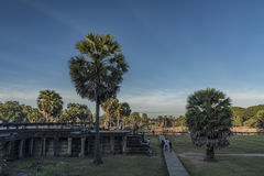 Angkor Wat temple in hot sunny morning Royalty Free Stock Images