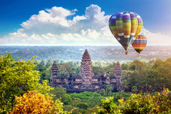 Angkor Wat Temple met ballon, Siem oogst stock fotografie