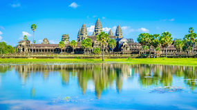 Angkor Wat temple and palms reflection, Cambodia Stock Photography