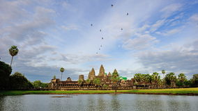 Angkor Wat Temple with the pond and skies Royalty Free Stock Images