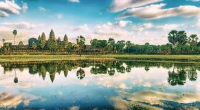 Angkor Wat temple at sunset. Siem Reap. Cambodia. Panorama royalty free stock photos