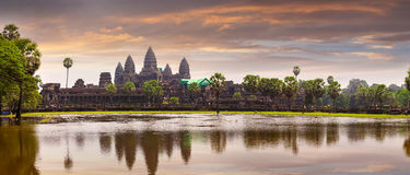 Angkor Wat temple with reflecting in water Stock Images